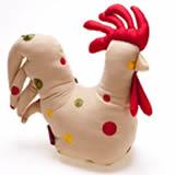 Embroidered chicken doorstop