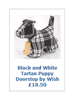 Black and White Tartan Puppy Doorstop by Wish